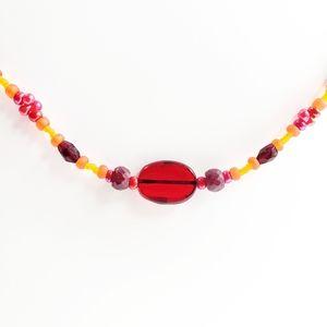 Rubies, Garnet, & Orange Glass Beaded Necklace